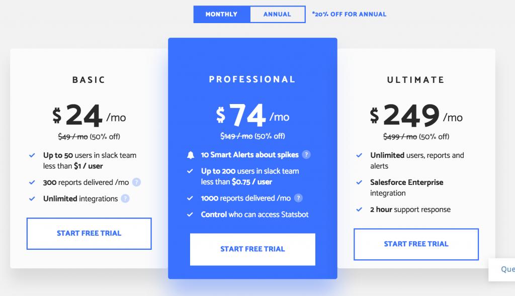 statsbot pricing plans